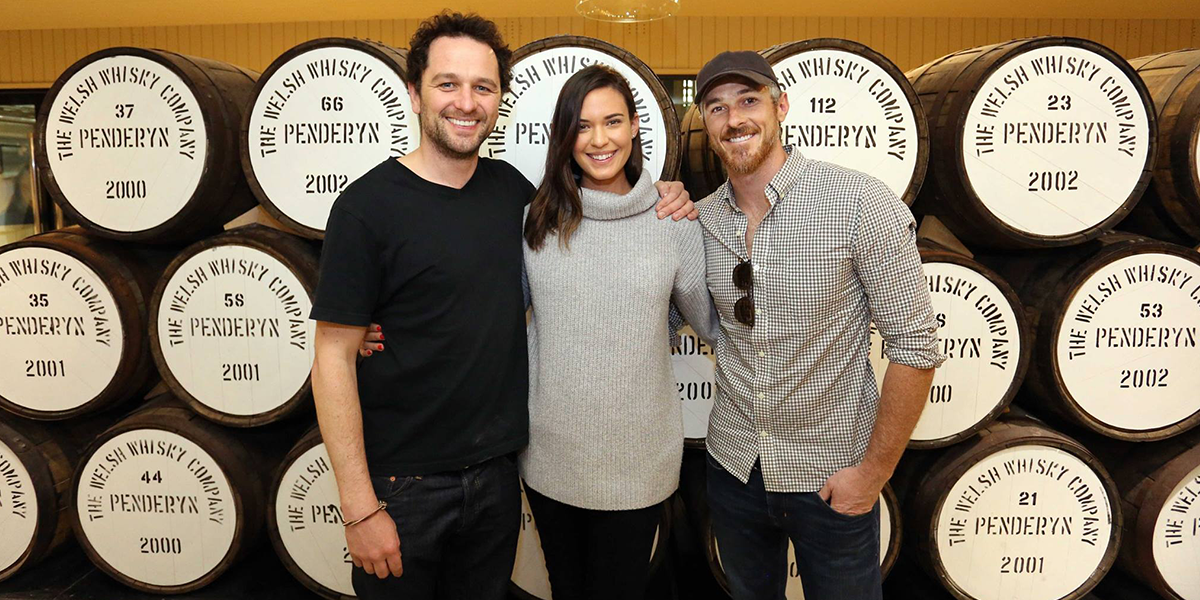 Matthew Rhys, with fellow actors David & Odette Anable